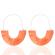 Trendy earrings resin Living Coral Red-Silver
