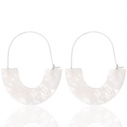 Trendy earrings resin White-Silver
