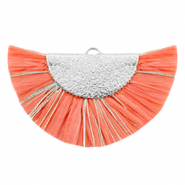 Tassels charm Silver-Living Coral Pink