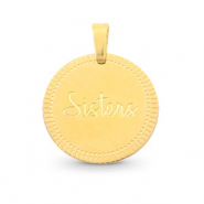"Stainless steel charms round 15mm ""sisters"" Mix&Match Gold"