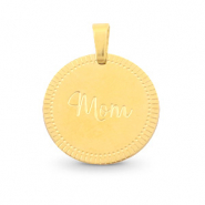 "Stainless steel charms round 15mm ""mom"" Mix&Match Gold"