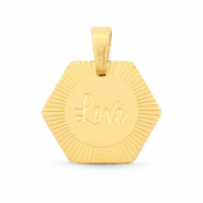 "Stainless steel charms Hexagon ""love"" Mix&Match Gold"
