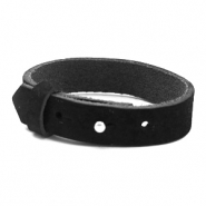 Cuoio bracelets nubuck leather 15 mm for 20 mm cabochon Midnight Black