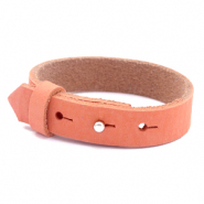 Cuoio bracelets nubuck leather 15 mm for 20 mm cabochon Living Coral Red