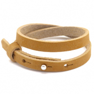 Cuoio bracelet nubuck leather 8 mm double for 12 mm cabochon Camel Brown