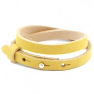 Cuoio bracelet nubuck leather 8 mm double for 12 mm cabochon Mineral Yellow