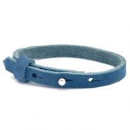 Cuoio bracelet nubuck leather 8 mm for 12 mm cabochon Aegean Blue