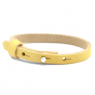 Cuoio bracelet nubuck leather 8 mm for 12 mm cabochon Mineral Yellow