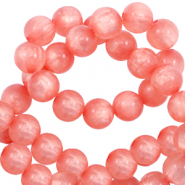 Polaris beads round 10 mm pearl shine Burnt Coral Pink