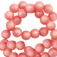 Super Polaris beads round 6 mm shiny Burnt Coral Pink