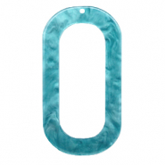 Resin pendants oblong oval 56x30mm Blue Atoll