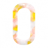 Resin pendants oblong oval 56x30mm Pink-Yellow