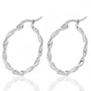 Stainless steel earrings creole 30mm twist Silver