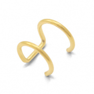 Stainless steel earrings ear cuffs 2 layer Gold