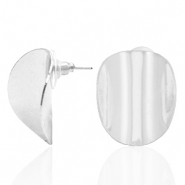 Trendy earrings oval Silver (nickel free)
