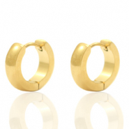 Stainless steel earrings creole rounded 13mm Gold
