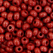 Preciosa glass seed beads 6/0-93300 Natural Opaque-Port Royale Red