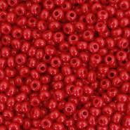 Preciosa glass seed beads 8/0-93210 Natural Opaque-Port Royale Red