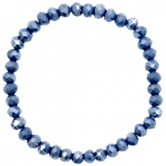 Top faceted bracelets 6x4mm Crown Blue-Pearl Shine Coating