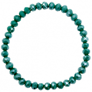 Top faceted bracelets 6x4mm Petrol Green-Pearl Shine Coating