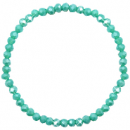 Top faceted bracelets 4x3mm Turquoise Green-Pearl Shine Coating