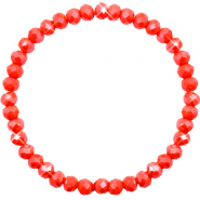 Top faceted bracelets 6x4mm Coral Red-Pearl Shine Coating