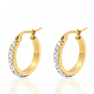 Stainless steel earrings creole 20mm strass Gold