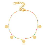 Stainless steel bracelets rainbow coins Gold