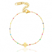 Stainless steel bracelets rainbow clover Gold
