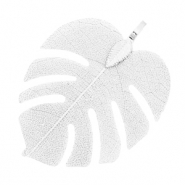 Charm with 1 loop metal tropical leaf Silver (nickel free)