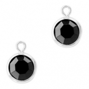 DQ Crystal glass charms round 6mm Silver-Jet Black