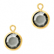 DQ Crystal glass charms round 6mm Gold-Black Diamond