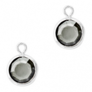 DQ Crystal glass charms round 6mm Silver-Black Diamond