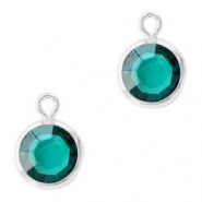 DQ Crystal glass charms round 6mm Silver-Blue Zircon