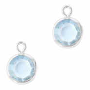 DQ Crystal glass charms round 6mm Silver-Light Sapphire