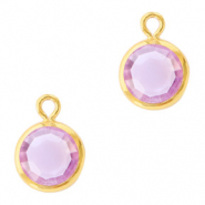 DQ Crystal glass charms round 6mm Gold-Violet Purple