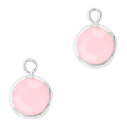DQ Crystal glass charms round 6mm Silver-Rose Alabaster