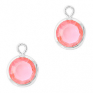 DQ Crystal glass charms round 6mm Silver-Light Rose