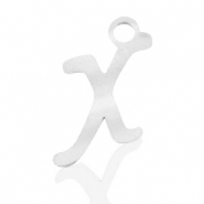 Stainless steel charms initial X Silver