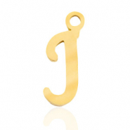 Stainless steel charms initial J Gold