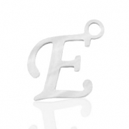 Stainless steel charms initial E Silver