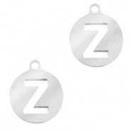 Stainless steel charms round 10mm initial coin Z Silver