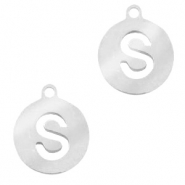 Stainless steel charms round 10mm initial coin S Silver