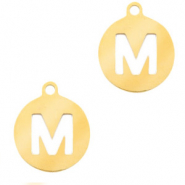 Stainless steel charms round 10mm initial coin M Gold
