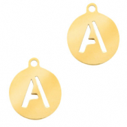 Stainless steel charms round 10mm initial coin A Gold