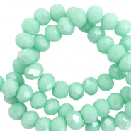 Top faceted beads 4x3mm disc Bleached Aqua Green-Amber Coating