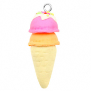 Charm with 1 loop fimo ice horn Naturel-Pink Orange