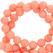 6 mm natural stone beads round mountain jade matt Living Coral Red