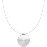 Polaris Steel necklace with setting for 35mm cabochon Silver