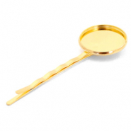 Settings bobby pin metal for cabochon 20 mm Gold